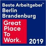 """Bild zeigt Auszeichnung """"Bester Arbeitgeber Berlin Brandenburg 2019"""""""