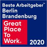 """Bild zeigt Auszeichnung """"Bester Arbeitgeber Berlin Brandenburg 2020"""""""