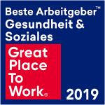 """Bild zeigt Auszeichnung """"Bester Arbeitgeber Gesundheit und Soziales 2019"""""""