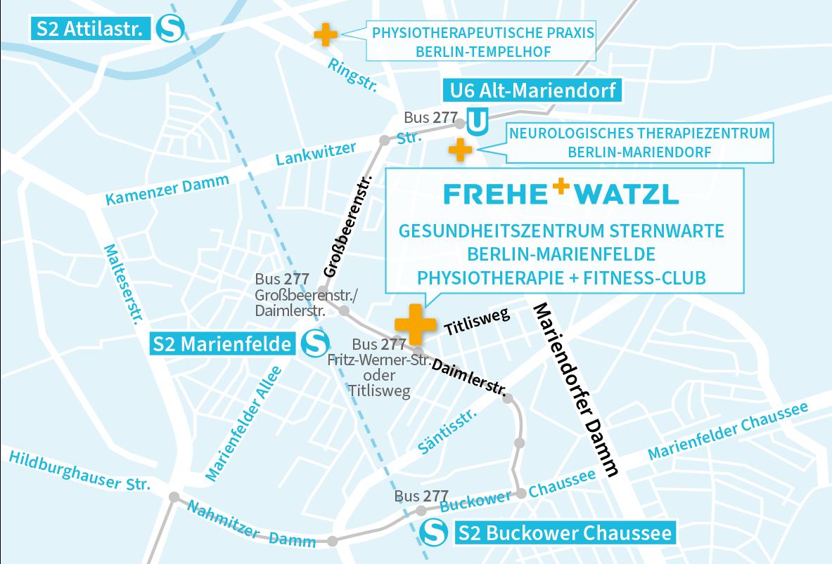 Lageplan Fitness-Club Sternwarte